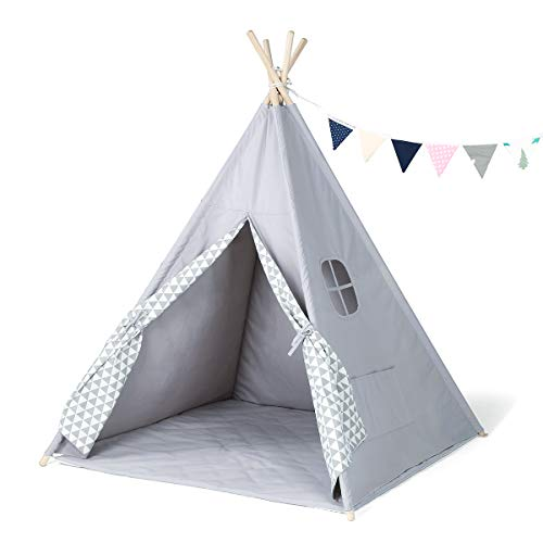 GIGALUMI Teepee Tent Kids Tipi Tent Grey for Children Indoor Teepee with Banner, Floor Mat, Window for indoor and outdoor