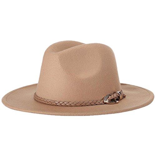 Demarkt Damen Jazz Hut Filzhut Schlapphut Winter Mütze mit breiter Krempe Mode und schönes Geschenk für Damen aus Filz Khaki