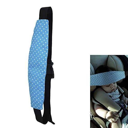SODIAL 1 Pz Fissaggio Banda Baby Kid Supporto per la testa Supporto Stella Stampa Cintura sonno Seggiolino Auto Nappa Titolare Cintura Passeggino Cintura di sicurezza per seggiolino(Blu)