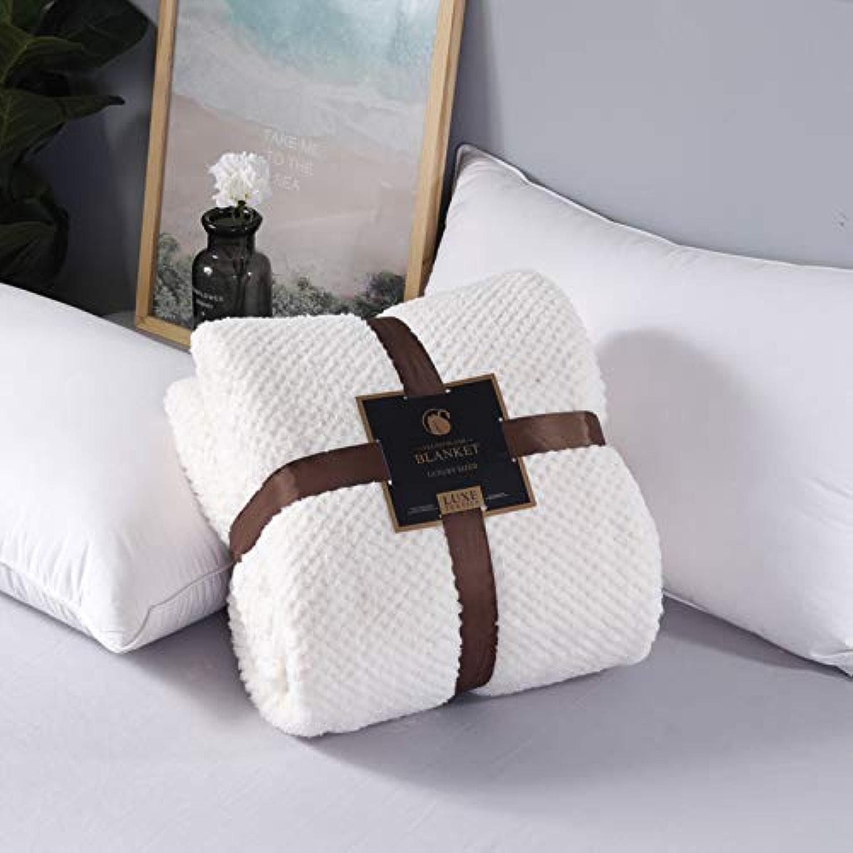 Simmia Home Tissu en Microfibre en Peluche avec Peluche en Flanelle - Couverture légère pour canapé, Moelleux et Chaud Blanc crème 180x200cm