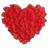 Pétalos de rosa, 300 piezas de tela de seda de simulación de pétalos de rosa para boda, día de San Valentín, decoración de flores (rojo)
