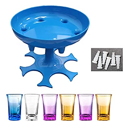 Shot Glass Dispenser Holder With Silicone Plugs For Filling Liquids, 6 Shots Dispenser Hanging Holder Stand Rack With 6 Shot Glasses For Bar Home Cocktail/Party(6 Small Glasses Included)