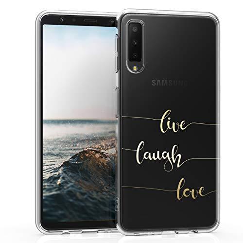 kwmobile Samsung Galaxy A7 (2018) Hülle - Handyhülle für Samsung Galaxy A7 (2018) - Handy Case in Live Laugh Love Design Gold Transparent