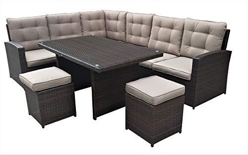 Jet-line Garten Lounge La Palma in braun (Sitzecke mit Esstisch) Polyrattan Garten Essgruppe Ecklounge mit Esstisch XXL Terrasse Garten Balkon