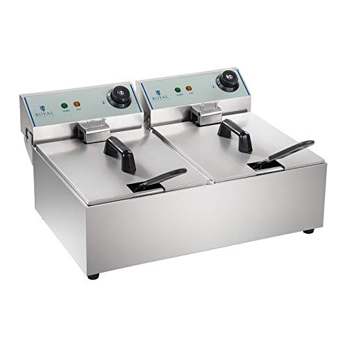 Royal Catering Freidora Industrial Profesional RCEF-10DY-ECO (doble con doc cestas 2 x 10 Litros, 2 x 3.200 W, 230 V, Termostato, Acero Inoxidable)