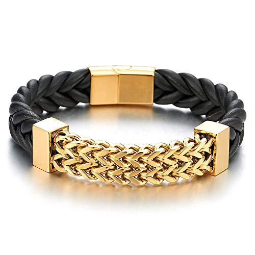 iMECTALII Neue Edelstahl Goldfarben Franco Link Schwarz Geflochtenes Leder Armband Armreif für Herren, Magnetverschluss