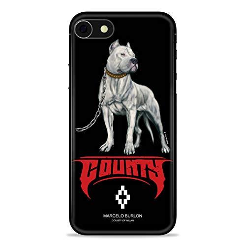 MARCELO BURLON COUNTY OF MILAN cover/custodia compatibile con iPhone 8/7/6s/6 - Mod. Dogo White - Custodia Burlon originale - Rigida - Finitura Soft Touch - Protezione frontale rialzata