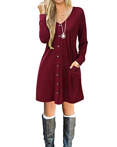 SOLERSUN Tunic Dresses with Pockets for Women, Women's Casual T-Shirt Dresses Long Sleeve Stripe Tunic Loose Swing Autumn Dress with Pockets Wine red L