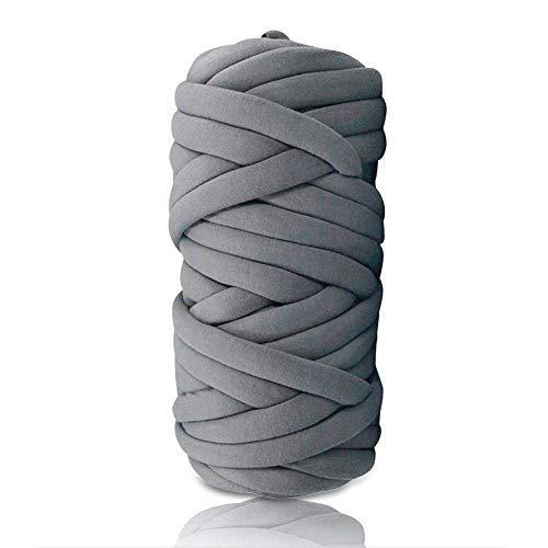 Core Yarn Garn Mehrfarbig Soft Bulky Arm Stricken Wolle Roving Häkeln DIY Hand Chunky Strickdecke Decke Garn für Riese Klobig Sticken Werfen Sofa Decke Blanket und Kunsthandwerk (Dunkelgrau, 1KG)