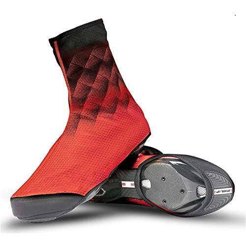 Sebasty Cubierta de Zapatos de Ciclismo Cubrezapatillas de Bicicleta MTB Invierno Térmico Impermeable Cubierta de Calzado Deportivo de Bicicleta Protege Los Zapatos de Ciclismo de Rasguños,Red-Medium