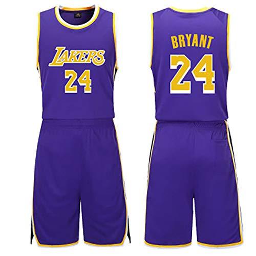 GJDU Männer Kobe Bryant # 24basketball Kleidung Kinder Jungen Bestickte Jersey Basketball Anzüge Sommer Jersey Set Sport Anzug-purple-5XL