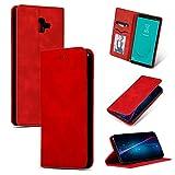 Byr883onJa Funda para smartphone con tapa de piel retro para Samsung Galaxy J6 Plus 2018 y J6 Prime (color: rojo)