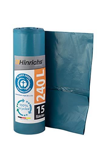 Hinrichs Bolsas de Basura Grandes y Resistentes - Bolsas Basura 240 Litros - Rollo de 15 Bolsas Basura Grandes - 70 μ - LDPE - Azul