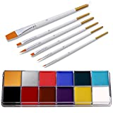 Alexsix 12 Colors Face Body Paint Kit, Professional Painting Halloween Art Party Fancy Make Up Set with 6 Brushes,Hypoallergenic Non-Toxic Oil Body Paint Kits for Adults and Kids