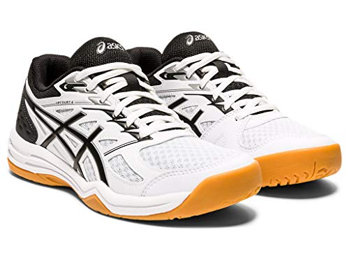 ASICS Women's Upcourt 4 Volleyball Shoes, 7.5, White/Black