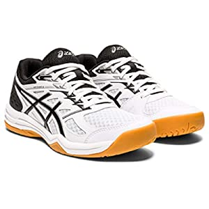 ASICS Women's Upcourt 4 Volleyball Shoes, 9, White/Black