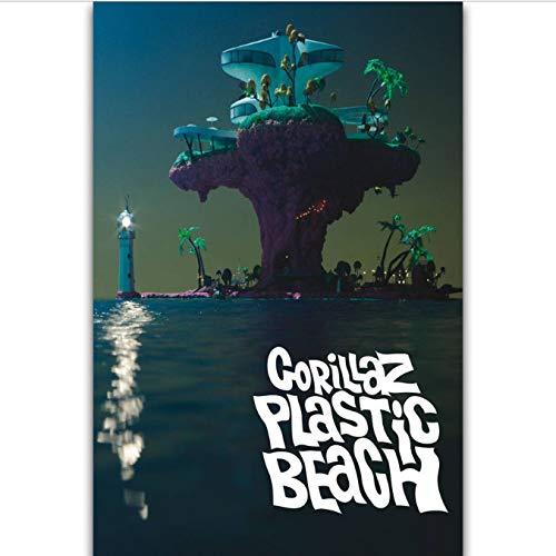 tgbhujk Copertina dell'album Gorillaz Plastic Beach Rock Music Band Star Wall Art Pittura Stampa su Tela di Seta Poster Decorazione della casa 40X60Cm Senza Cornice