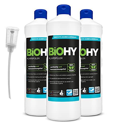 BiOHY Klarspüler (3x1l Flasche) + Dosierer   Ökologisches Hochkonzentrat   Geeignet für alle (gewerblichen) Spülmaschinen, für unschlagbaren Glanz auf Gläsern & Geschirr   BiO-logisch abbaubar
