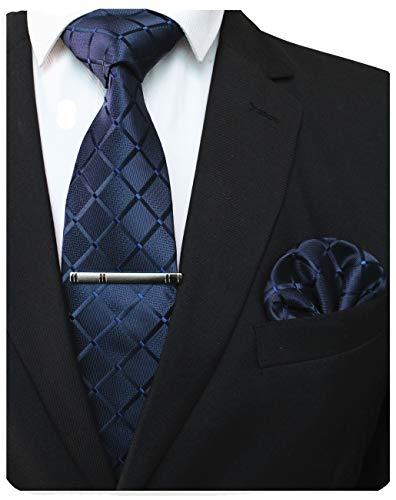 JEMYGINS Dunkelblau Seide Plaid Krawatte und Einstecktuch mit krawattenklammer Set für Herren Seidenkrawatten Hochzeit Schlips (1)