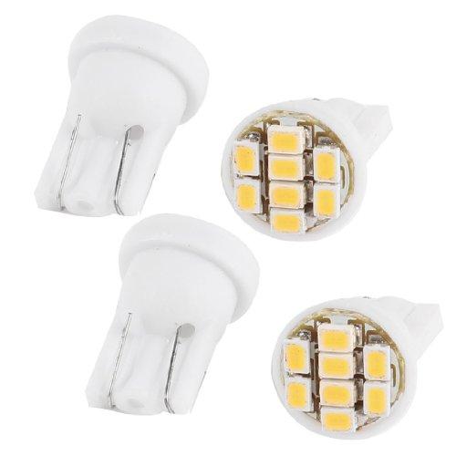 sourcing map 4 Pcs T10 Ampoule Blanche 8 LED 1206 SMD Voiture Tableau de Bord Signal Lampe