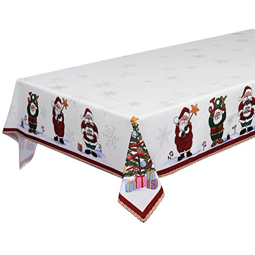 BESTonZON Christmas Tablecloth Santa Christmas Tree Printed Xmas Table Runner Christmas Tablecloth Cover Rectangular for Xmas Party Holiday Winter Home Decor 84 x 60in