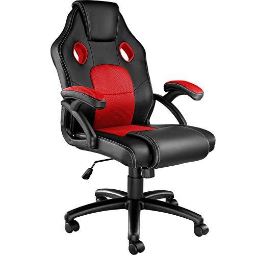 TecTake 800770 Racing Bürostuhl, Gaming Stuhl mit Wippmechanik, Kunstleder Chefsessel Drehstuhl, höhenverstellbarer Schreibtischstuhl, ergonomisch - Diverse Farben - (Schwarz-Rot | Nr. 403452)