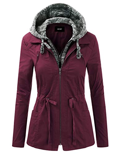 FASHION BOOMY Women's Zip Up Safari Military Anorak Jacket with Hood Drawstring - Regular and Plus Sizes Medium NL_Wine
