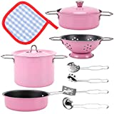 Liberty Imports Kids Play Kitchen Toys Pretend Cooking Pink Stainless Steel Pots and Pans Metal Kitchen Set with Utensils (11 Pieces)