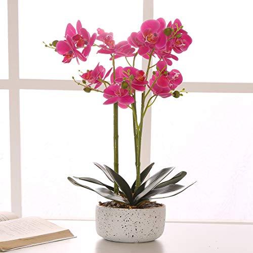 ENCOFT Kunstblumen orchideen Kunstpflanze Künstliche Blumen aus Eva Keramik Wohndeko Kunstbulme mit Übertopf Garten Balkon Wohnzimmer Hochzeit (Lila, 55cm)