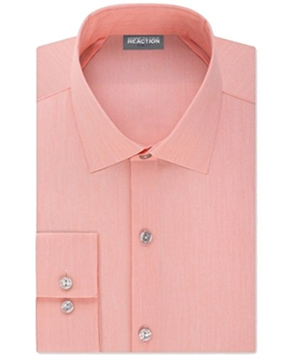 """Kenneth Cole Mens Techni-Cole Button Up Dress Shirt, Pink, 16.5"""" Neck 34-35"""" Sleeve"""