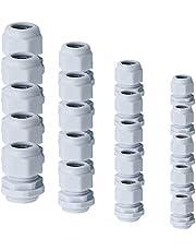 Hentek 40 piezas Prensaestopa Impermeables M12 M16 M20 M25 x 1.5 IP68 Glándulas de Cable de Plástico para Hogar / Jardín / Cable de Iluminación para Exteriores (Ø6mm-25mm)