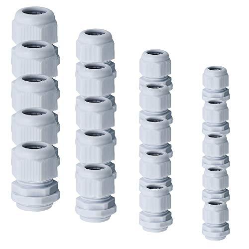 40 Stück Kabelverschraubung Set Kabeldurchführung Wasserdichte Einstellbar Kabelverschraubungen M12 M16 M20 M25 Kabelanschlüsse mit Gegenmutter Kunststoff