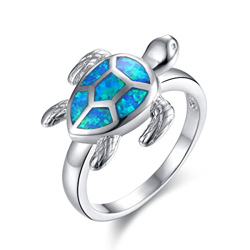 MGIE Blue Fire Opal Women Men Fashion Jewelry Gemstone White Gold Plated Turtle Ring