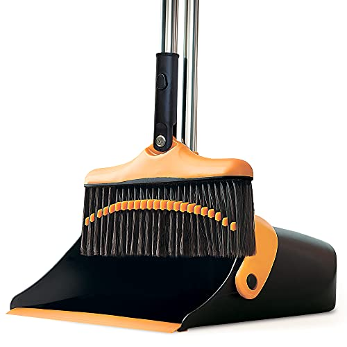 Broom and Dustpan Set With Long Handle - Kitchen Brooms and Stand Up Dust Pan Magic Combo Set for Home - Lobby Broom With Rotation Head and Standing Dustpan for Floor Cleaning, Straight