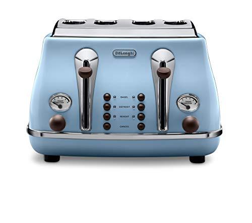 De'Longhi Icona Vintage 4 slot toaster, reheat, defrost, one-side bagel & 6...