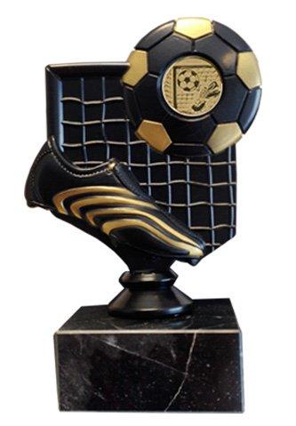 Trofeo negro fútbol con bota, balón y portería.
