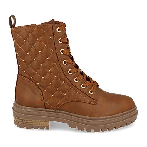 shoes&blues.es 52372-Damen Ankle Boot, Flache Sohle, mit gestepptem Druck und Strasssteinen, Schnursenkeln und Reissverschluss, Herbst Winter 2020. Size 39 Camel