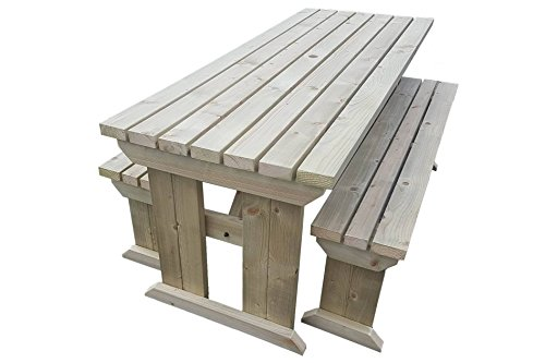 YEWS Compact Garden Picnic Table and Benches Set - Space Saving Furniture for Small Spaces - Handmade Furniture in The UK - Light Green or Rustic Brown (5ft, Light Green (Natural))
