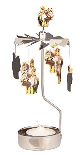 Teelichtkarussell, Drehlicht Pippi Langstrumpf mit Pferd