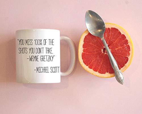 Funny Mugs 11 oz Novelty Coffee Mug You Miss 100% Of The Shots You Don'T Take Mug Michael Scott Mug Funny Coffee Mug Christmas Birthday Gifts