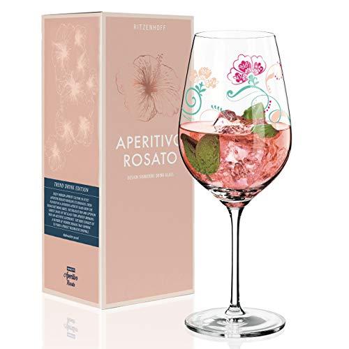 RITZENHOFF Aperitivo Rosato Aperitifglas von Carolin Körner, aus Kristallglas, 600 ml, mit trendigen Dekoren