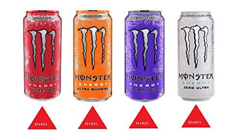 XXL Paket Monster Energy Ultra 0,5 L Zuckerfrei 48 Dosen ( 12 x ultra red,12 x ultra sunrise,12 x ultra violet,12 x ultra white ) Kostenloser Versand nach Deutschland