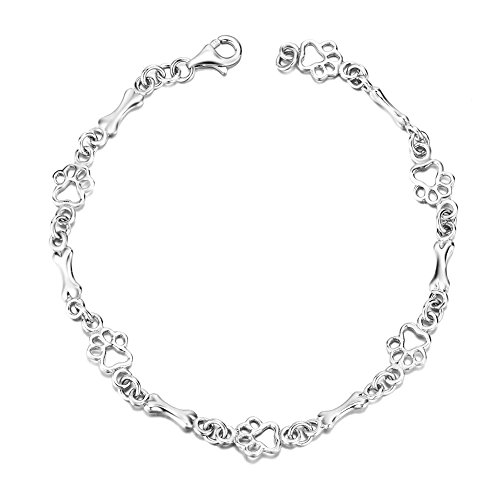 Silver Mountain Jewellery 925 Sterling Silver Paw and Bone Link Bracelets for Dog Lover,19cm