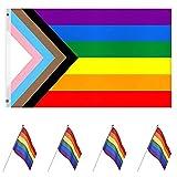 Banderas Gay, 5 Piezas Banderas Orgullo Gay, Bandera Arcoiris, Bandera Mano Gay, Banderas Arcoíris Mano, Bandera Orgullo Gay Arco Iris, Para Uso en Interiores y al Aire Libre