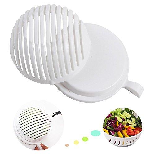 Salatschneider Schlüssel Teilig Set Sieb Salatschleuder, Salad Bowl Cutter Maker Gemüseschneider Schüssel, 3 in 1 , Obst Gemüse Salat in 60 Sekunden
