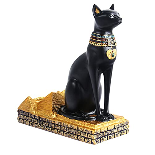 Lurrose Soporte de Vino en Forma de Gato de Resina Gato Egipcio Estatuilla de Dios Estante de Botellas de Vino Retro Soporte de Botella de Champán para Barra de Encimera de Cocina Casera