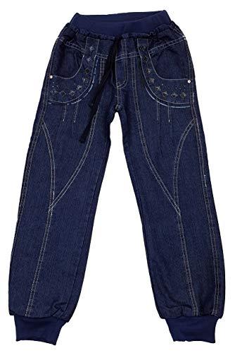 R&B Mädchen Jeanshose, dünn gefütterte Jeans in Blau, Gr. 128-134, M909.10