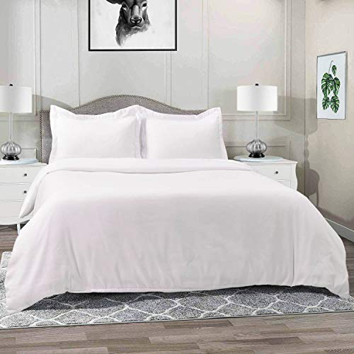 Vailge 3-Piece 120gsm Microfiber Duvet Cover Set,Ultra Soft Double Brushed MicrofiberHotel Collection Bedding,Durable and Breathable Comforter Cover with Zipper Closure & Corner Ties(King,White)