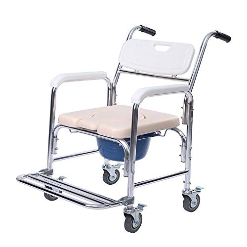 Thaweesuk Shop Portable Medical Commode Wheelchair Bedside Toilet&Shower Chair Aluminum Frame 23.62
