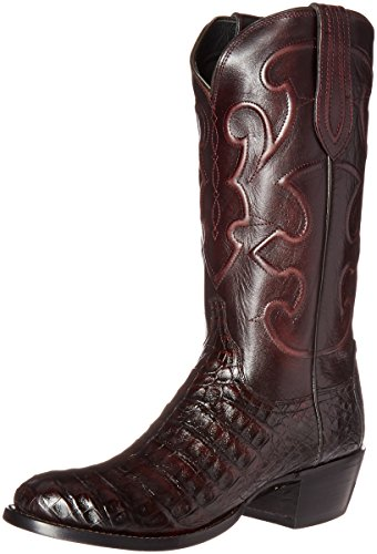Lucchese Classics Men's Charles-blk Chry Bly Croc/Cord Derby Riding Boot, Black Cherry, 11 2E US